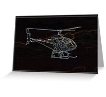 Neon Helicopter, in Flight Greeting Card