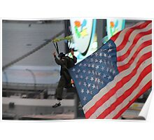U.S. National Guard skydiving with U.S. flag Poster
