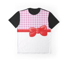 Ribbon, Bow, Gingham Pattern - Pink White Red Graphic T-Shirt