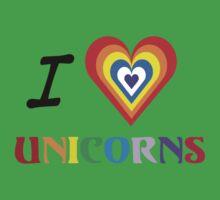 I Love Unicorns (T-Shirt & Sticker) Kids Clothes