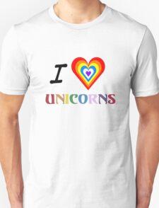 I Love Unicorns (T-Shirt & Sticker) Unisex T-Shirt