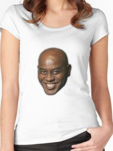 Large Ainsley Harriott Face Print Women's Fitted Scoop T-Shirt
