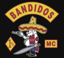 #vbg Bandidos MC Motorcycle Club logo black t-shirt by paulineperry398
