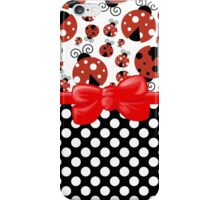 Ribbon, Bow, Ladybugs, Polka Dots - Red Black iPhone Case/Skin