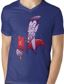 Dracula Licking a Blood Flavored Popsicle Mens V-Neck T-Shirt