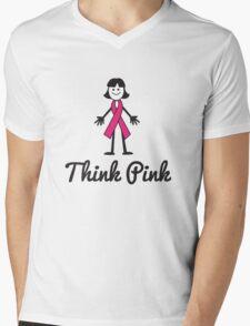 Think Pink Ribbon Person Mens V-Neck T-Shirt