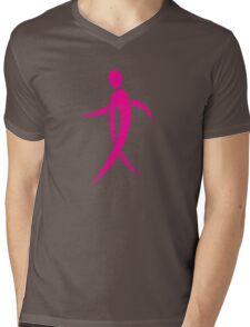 Pink Ribbon Person Mens V-Neck T-Shirt