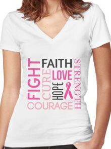 Breast Cancer Words Women's Fitted V-Neck T-Shirt