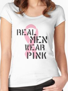 Real Men Wear Pink Ribbon Women's Fitted Scoop T-Shirt