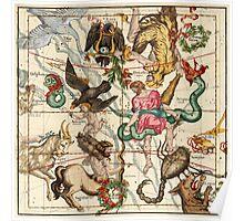 Hercules, Sagittarius, Delphinus, Scorpius, Caper, Lyra, Olor And Other Constellations Poster