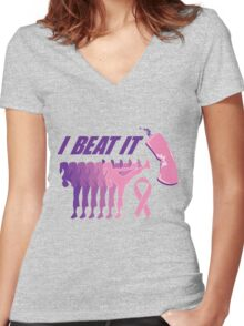 I beat breast cancer.  Women's Fitted V-Neck T-Shirt