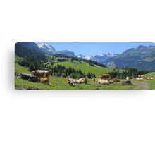 Cows above Wengen Canvas Print