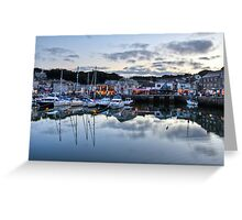 Dusk Over a Cornish Harbour Greeting Card