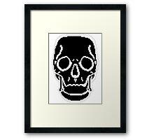 Pixel Skull Black Framed Print