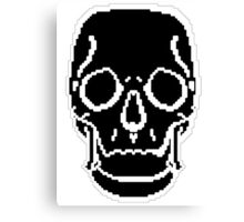 Pixel Skull Black Canvas Print
