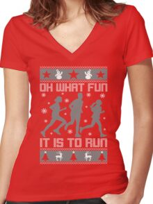 Fun To Run Ugly Christmas Tee Women's Fitted V-Neck T-Shirt