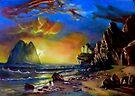 sunset on the coast after Albert Bierstadt by Hidemi Tada