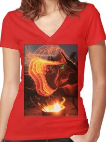 Man GENIE Women's Fitted V-Neck T-Shirt