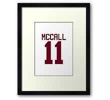 Scott McCall's Jersey - maroon/red text Framed Print