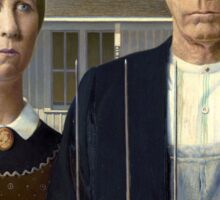 Iconic American Gothic by Grant Wood Sticker