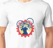Cyclist Bicycle Mechanic Carrying Bike Sprocket Retro Unisex T-Shirt