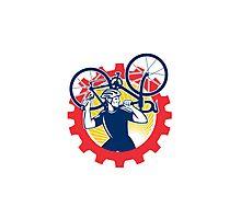 Cyclist Bicycle Mechanic Carrying Bike Sprocket Retro Photographic Print