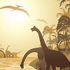 Dinosaurs on Tropical Jurassic Landscape by BluedarkArt
