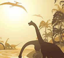 Dinosaurs on Tropical Jurassic Landscape by BluedarkArt
