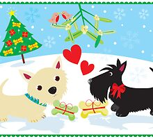Westie and Scottie under the Mistletoe by BonniePortraits