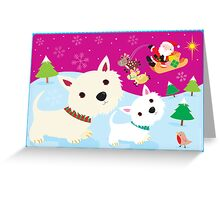 Westies and Santa Claus Greeting Card