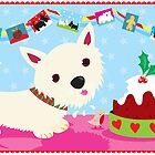 Westie and Christmas Pudding by BonniePortraits