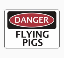 DANGER FLYING PIGS, FUNNY FAKE SAFETY SIGN T-Shirt