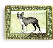 Boston Terrier Dog Christmas Canvas Print
