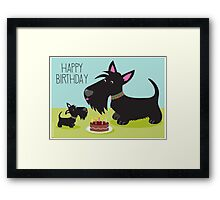 Birthday Cake and Scotties Framed Print