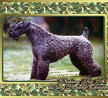 Kerry Blue Terrier Dog Christmas by Oldetimemercan