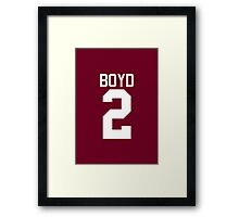 Boyd Jersey - white text Framed Print