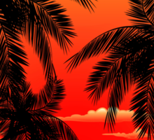 Warm Topical Sunset with Palm Trees Sticker