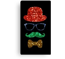 christmas hipster mustache Canvas Print