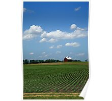 Red Barn and Cornfield Poster