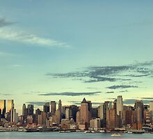 new york cityscape skyline landmark hudson river by upthebanner