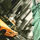 new york cityscape skyline landmark taxi times square statue liberty by Noel Moore Up The Banner Photography
