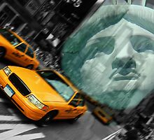 new york cityscape skyline landmark taxi times square statue l by upthebanner