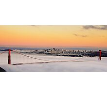 san francisco sunset golden gate bridge skyline cityscape Photographic Print