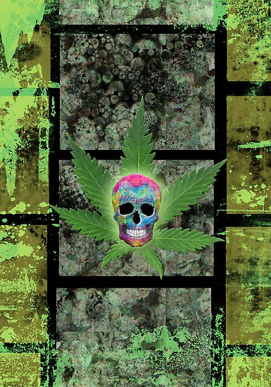 Painted Skull & Leaf by TinaGraphics