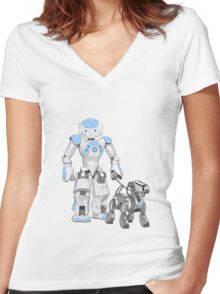 The Dog Walker. (Blue) Women's Fitted V-Neck T-Shirt