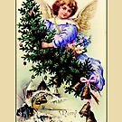 Holiday Greeting-Angel with Tree by Yesteryears