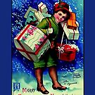 Holiday Greeting-Girl with Hatboxes by Yesteryears
