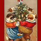 Holiday Greeting-Cats and Dogs Dancing by Yesteryears