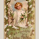 Holiday Greeting-Angel with Lilies by Yesteryears