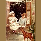 Holiday Greeting-Girls with Deer by Yesteryears